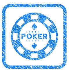 Poker casino chip framed grunge icon vector