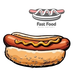 set of and logo hot dog vector image vector image