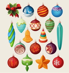 Set of vintage christmas balls vector image vector image
