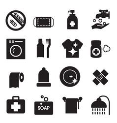 Silhouette hygiene icons set vector