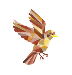 Sparrow flying low polygon vector