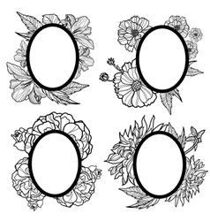 Vintage oval frames vector