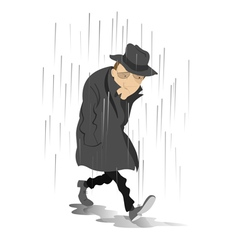 Rainy day and the man in low spirits vector