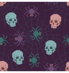 Pixel spider and skull pattern vector