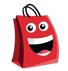 Shopping Bag Cartoon Character Design vector image