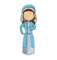 Cartoon virgin mary blessed catholic image vector