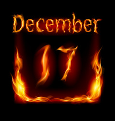Seventeenth december in calendar of fire icon on vector