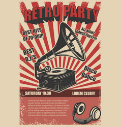 retro party vintage gramophone on grunge vector image