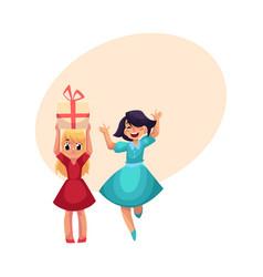 Two girls having fun at birthday party dancing vector