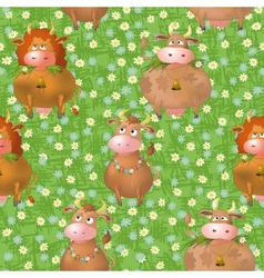 Seamless pattern cartoon cows on a meadow vector
