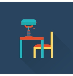 Table and lamp flat library icon vector