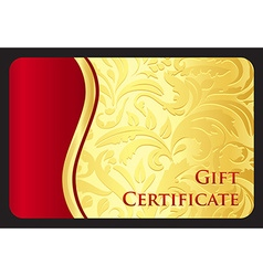 Exclusive golden gift card with victorian pattern vector