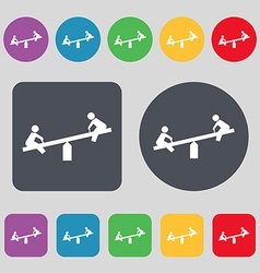Swing icon sign a set of 12 colored buttons flat vector