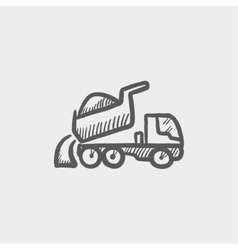 Dump truck sketch icon vector