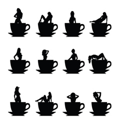 Girl silhouette in cup of coffee vector