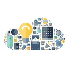 icons shape flat technology cloud vector image