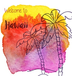 Watercolor hawaiian tropical graphic design vector