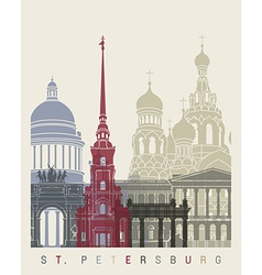 St petersburg skyline poster vector
