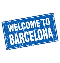 Barcelona blue square grunge welcome to stamp vector