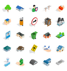 Buildings icons set isometric style vector