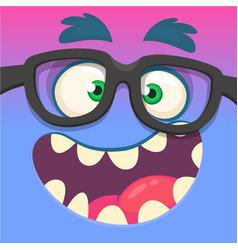 cartoon monster face wearing eyeglasses vector image vector image