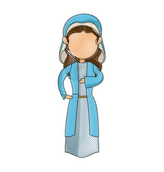 cartoon virgin mary blessed catholic image vector image vector image
