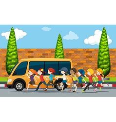 Children running on the street vector