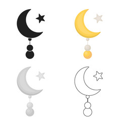 Crescent and star icon in cartoon style isolated vector