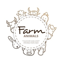farm animals icons circle composition vector image vector image