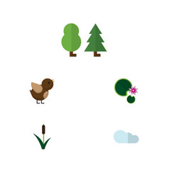 Flat icon bio set of forest cattail overcast and vector