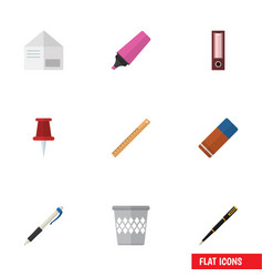 Flat icon stationery set of nib pen trashcan vector