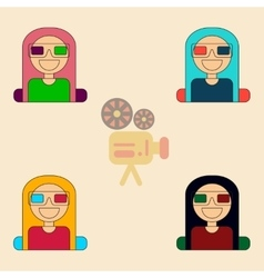 Girl at movie collection in vector