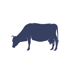 hand drawn cow silhouette isolated on white vector image
