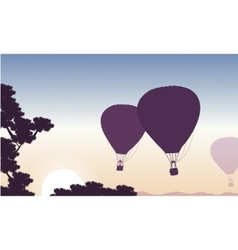 Hot air balloon in the sky beauty landscape vector