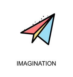 Imagination icon and paper rocket on white vector