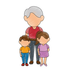Kids and grandfather vector