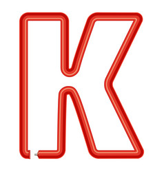 letter k plastic tube icon cartoon style vector image vector image
