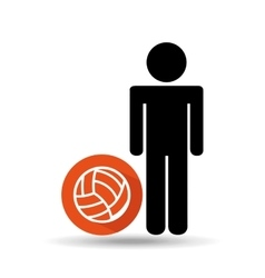 man silhouette volley ball design vector image