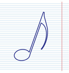 Music note sign navy line icon on vector