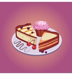 Pie and cupcake with cherries vector
