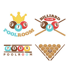 Poolroom emblem set vector