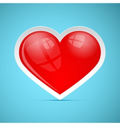 Red 3d retro heart on blue background vector