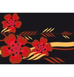 red flowers and leaves vector image