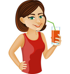 Red haired girl with carrot juice vector