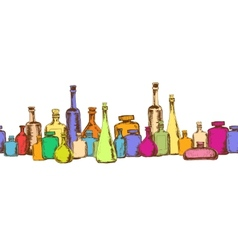 Seamless pattern with bottles vector image vector image