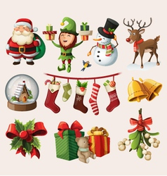 Set of colorful christmas characters vector image vector image