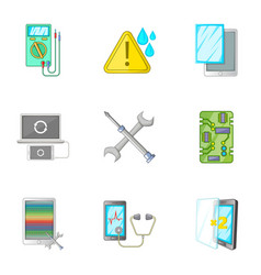smartphone repair icons set cartoon style vector image