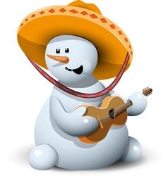 snowman in a sombrero vector image