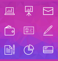 Trade outline icons set collection of bank card vector