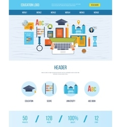 Web design template with icons of education vector